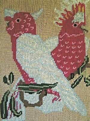 Craft Tapestry Completed & Framed  Australian Birds Pink Cockatoos