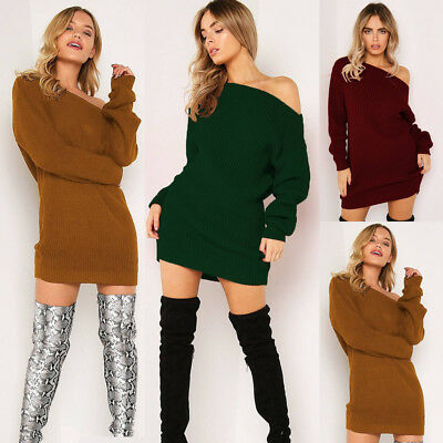 DE Damen Pullikleid Minikleid Strickkleid Strickpullover strickwaren Longshirt
