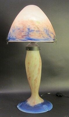 Fine Signed French Art Deco Art Glass Lamp  Le Verre Francais  c. 1920s  antique