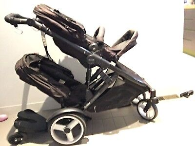 Steelcraft Strider Compact Double Pram  Skateboard Rain & Sun cover and More!