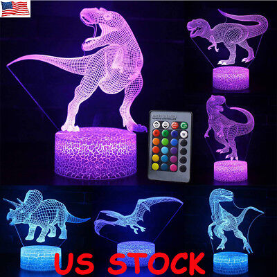 3D Dinosaur 7 Color USB Touch Night Light Led Lamp Table Desk Kids Xmas Gift New