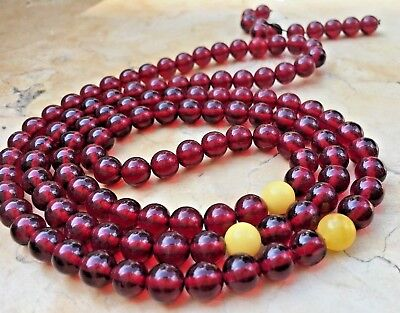 Baltic Blood Amber stone butterscotch Red 108 Beads Bracelet Rounds 39 Grams