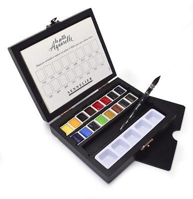 Sennelier La Petite Aquarelle Watercolour Half Pan Paint Wooden Box Travel Set