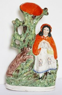 Victorian Antique Staffordshire Spill Vase Figures - Red Riding Hood