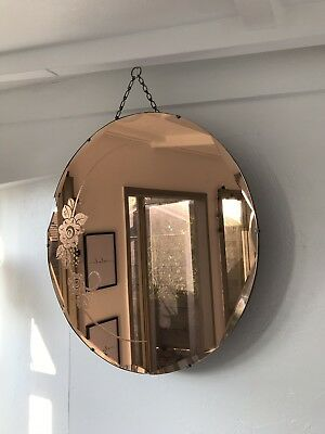 Peach Mirror Art Deco Bevelled Glass Mirror Etched Design Frameless Mirror