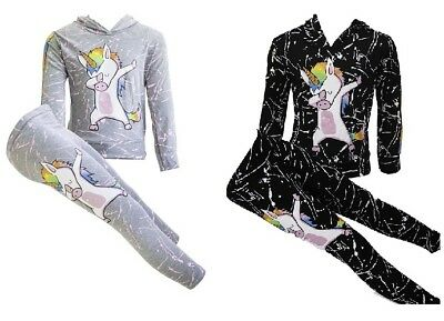 NEW Girls Kids Unicorn Dab Grey Hooded Top & Leggings Tracksuit Outfit Age 7-13