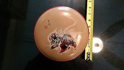 Very Early Hand Painted Asian Lacquer Round Wood Box