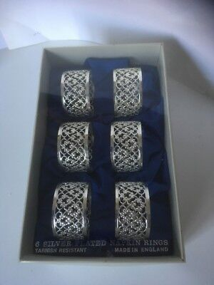 6 silver plated napkin rings boxed tarnish resistant lacework design