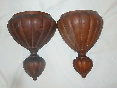 PAIR Vtg Architectural Salvage Wood Carved Wall Mount Corbel Pieces-Mantle/Stair