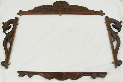 French Antique  Wood panel pediment dragon shell