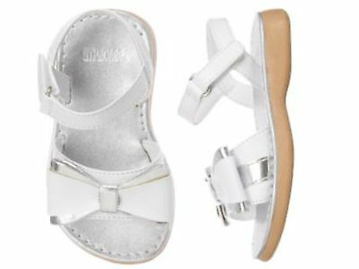 NWT Gymboree White Silver Sandals Shoes Gummy Spring Dressy 4 8