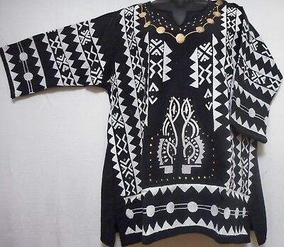 Men women Mud cloth Vintage dashiki Shirt African Blouse Organic Cotton One Size