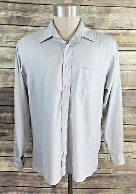 Vintage Christian Dior Mens Dress Shirt Size 16.5 Large Button Up Blue Gray