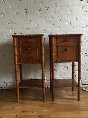 french faux bamboo bedside tables 19th c. with marble tops .pair of nightstands
