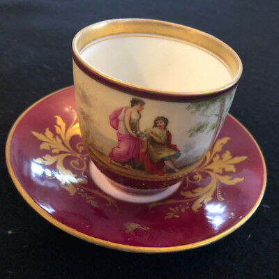 Antique Royal Vienna Porcelain hand painted cup and saucer with gold decor