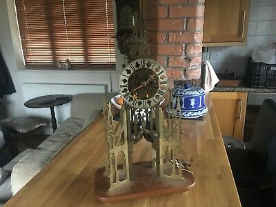 Evans, Birmingham  ANTIQUE SKELETON CLOCK TWIN FUSEE 22 1/2 INCHES MAKE AN OFFER