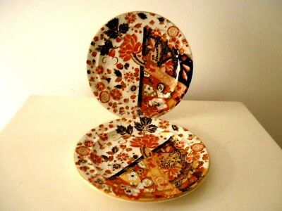 Pair Antique Ridgways Old Derby 21 Cm Plates - Hand Painted Imari Colours