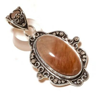 Huge! Antique Style Red Rutile Oval Gemstone silver plated Handmade Pendant