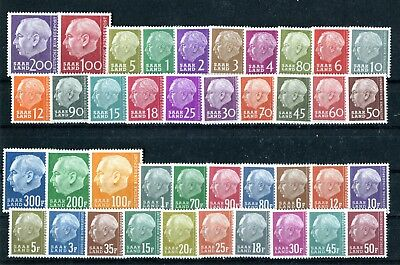 GERMANY SAAR 1957 Theodor Heuss 2 complete sets MNH (1094)