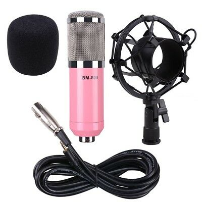 Pro Audio BM800 Condenser Microphone Kit Shock Mount Home Studio Record Mic Pink