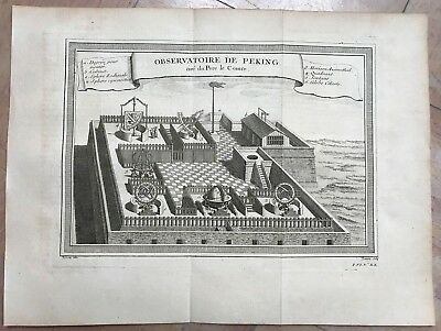 China Observatory Of Beijing 1750 Nicholas Bellin Large Antique Engraved View