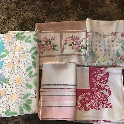 Vintage Tablecloth Lot Cherries Strawberries Roses Lot 5 Including 1 Marked Vera