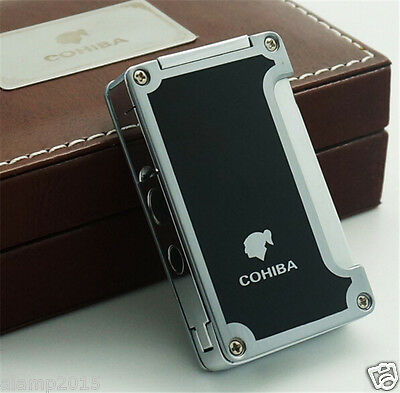 Cohiba Black Classic Metal Wind-Proof 1 Torch Jet Flame Cigar Lighter W/ Punch