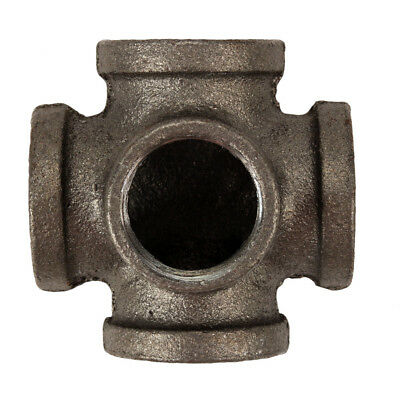 "3/4"" 5-way CROSS TEE BLACK MALLEABLE IRON fitting pipe Industrial Decor Style"