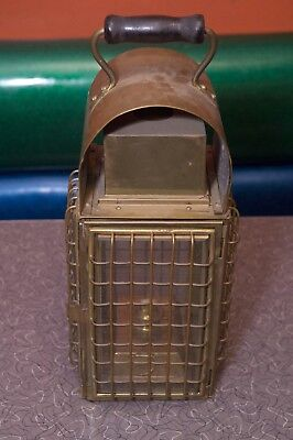 Antique Oil Lantern Brass with Wood Handle
