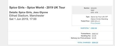 2 x VIP (Spice up Your Life) SPICE GIRLS TICKETS - Manchester 1st June 2019