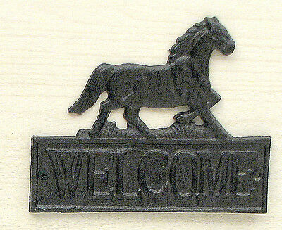 CAST IRON Horse Welcome Plaque Rustic Brown Wall Mount Decor