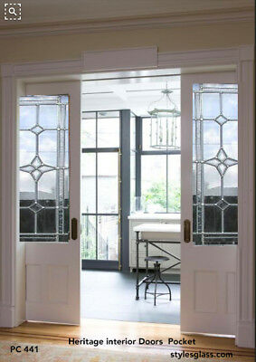 2 - one pair - 36 x 80  Lead Glass Heritage design  Pocket Doors  PC441