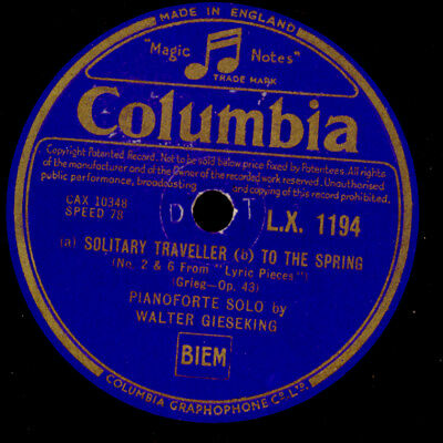 WALTER GIESEKING -PIANO- Grieg: Solitary Traveller / To the Spring  78rpm  G3747