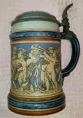 German Mettlach Stein 2025 Cherubs Frolicking 19 0 Ges Gesch pewter edge H Rich