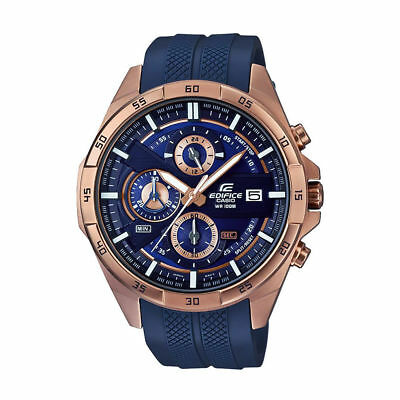Casio EDIFICE EFR556PC-2A Chronograph Rose Gold Blue Resin Band 100m Men's Watch