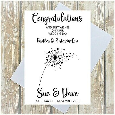 Wedding Day Card Son Daughter In Law Brother Sister In Law Personalised Multi