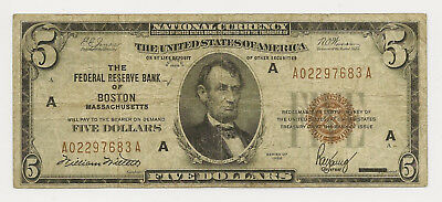 1929 $5 Frbn Federal Reserve Bank Note~ Boston ~ Fine ~ Priced Right! (Inv#7683)