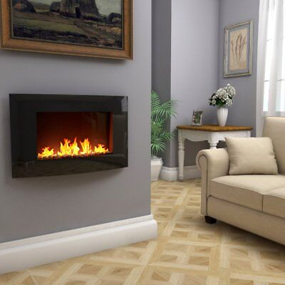 Wall Mounted Electric Fireplace Curved Glass Heater Fire Flame Remote Control UK