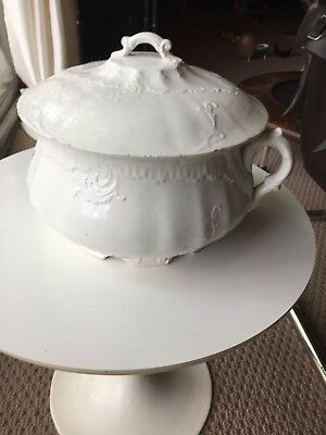 Antique White Ironstone Chamber Pot With Lid