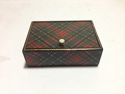 "Antique Tartanware Plaid Box, ""M. Beth"" Tartan Ware Trinket Stamp Box"
