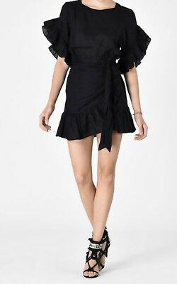 4aa0a66bfd New Isabel Marant Etoile Delicia Ruffled Wrap Black Dress size 44