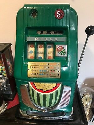 """Old 5 Cent Mills """"Water Melon"""" High Top Antique Slot Machine"""
