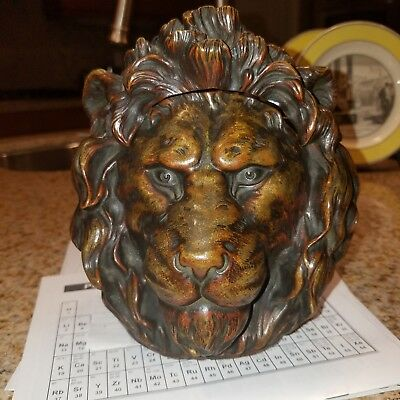 Lion Head Bronze Humidor Ink Well Feng Shui large and heavy unmarked approx 8x10
