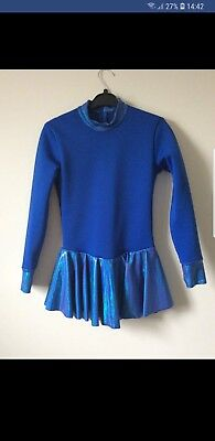 Blue Warm Fleece Ice Skating Dress Size 8-9