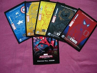 Marvel Masterpieces 2007 UDE SubCasts X5 set + MM3 Promo Cards Upper Deck VFN