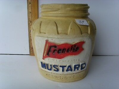 "Antique Pottery ""French's Mustard"" Display Jar 6"" early 1900's 40/39"