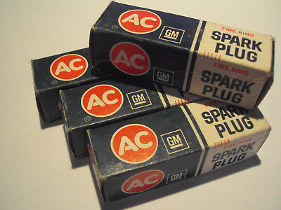 4 AC Spark Plugs 45S Vintage NOS In Original Boxes - Fits Chevy 327 4Bbl. & More
