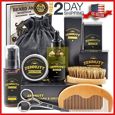 Beard Care Grooming Kit Brush Comb Balm Oil Mustache Scissors Trimming Styling