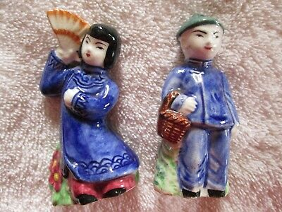 Vintage Hand Painted Chinese Figurines Salt And Pepper Shaker