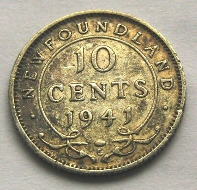 1941c TEN CENTS NEWFOUNDLAND SILVER COINS KING GEORGE VI
